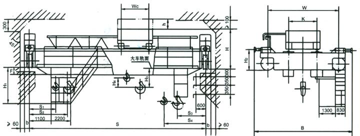 QD型电动吊钩桥式起重机结构图