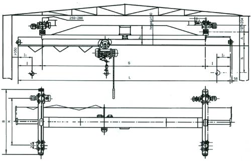 LX型电动单梁悬挂起重机结构简图