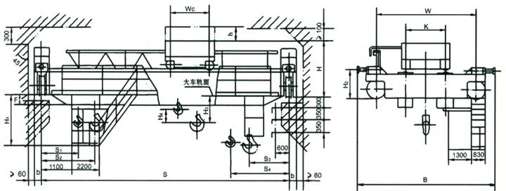 双梁桥式起重机结构简图
