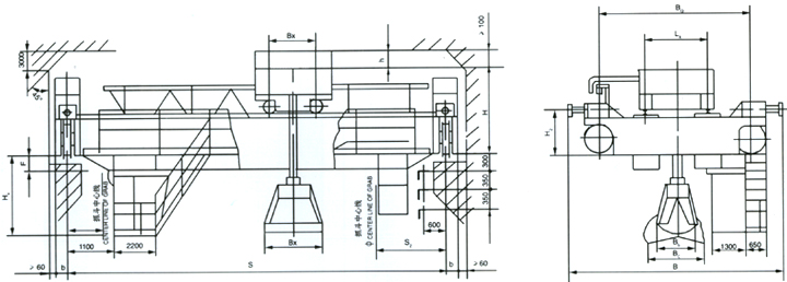 QZ电动双梁多辬液压抓斗桥式起重机结构图